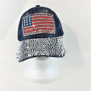 Nollia NWOT sparkle rhinestone USA flag deim hat
